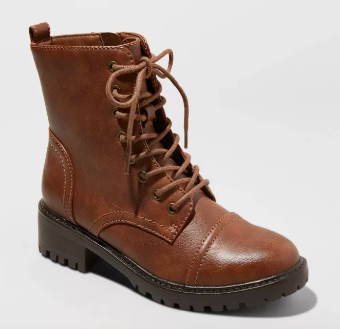 Cognac lace-up combat boots with laces and a zipper on the side