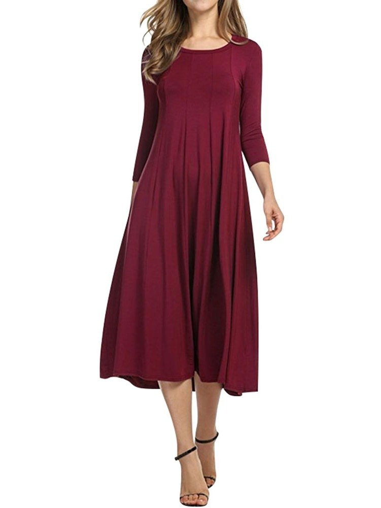 The flowy burgundy dress