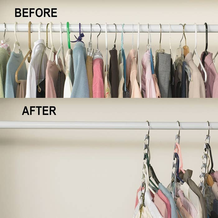 Before-and-after of a crowded closet rack and then the same rack with double the space