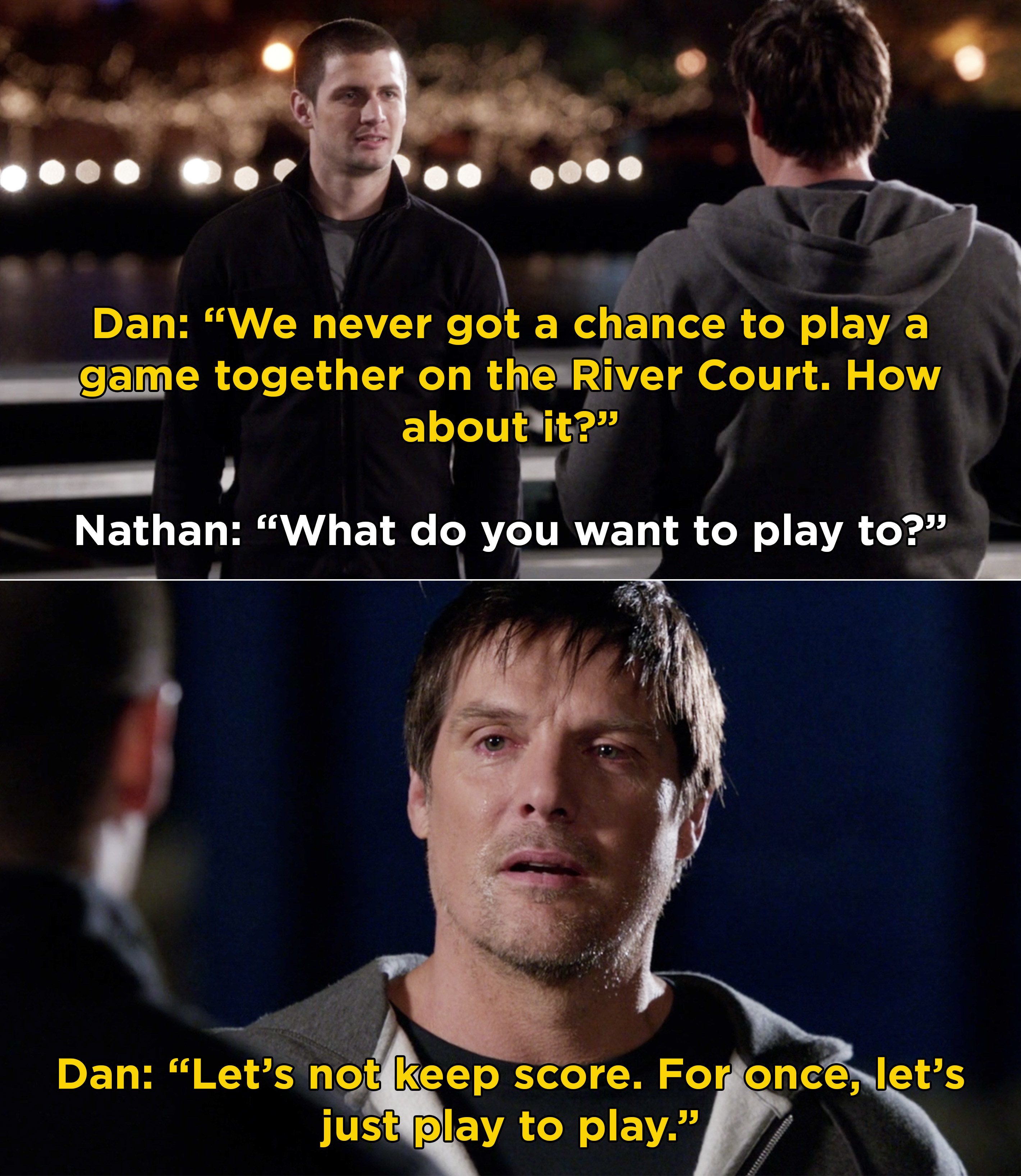 Dan asking Nathan to play a game on the River Court, but not to keep score