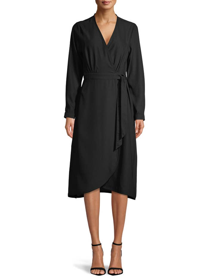The black mid-length wrap dress