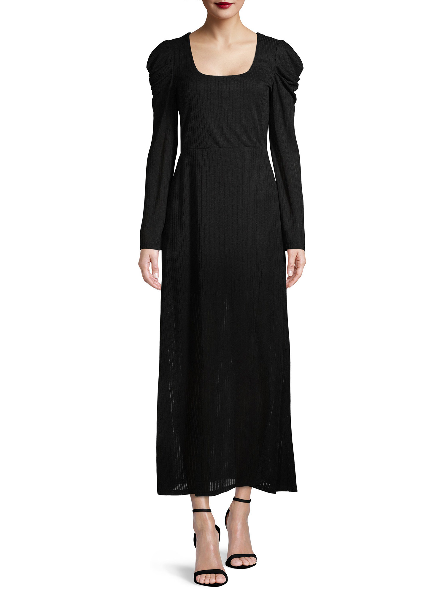 The black puff-sleeve maxi dress