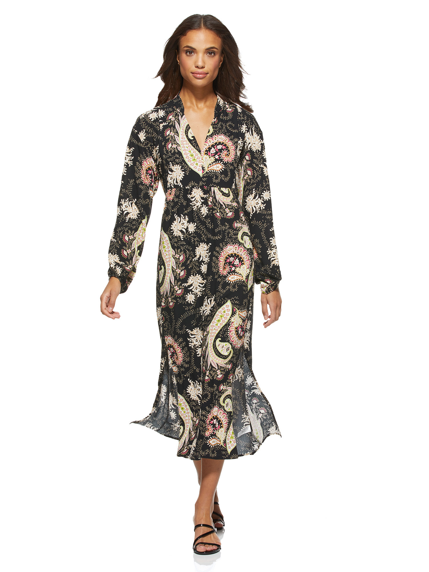The black and cream paisley-printed midi dress