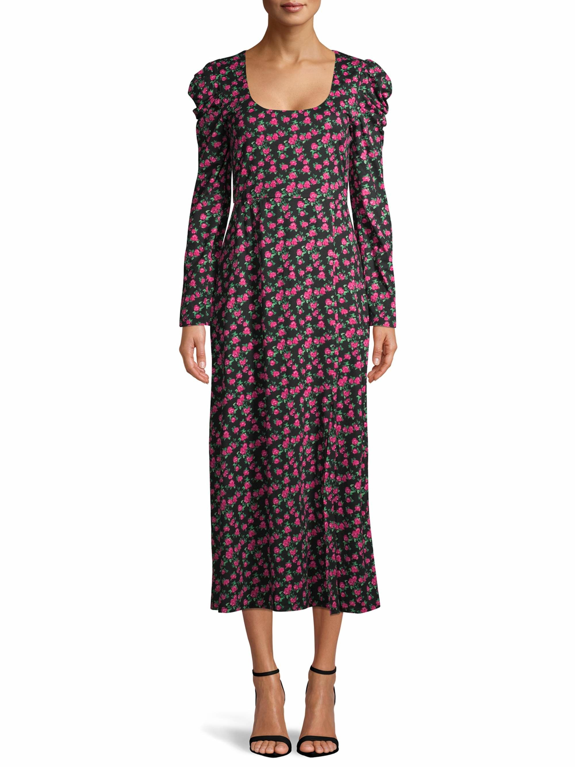 The black, pink, and green floral-printed midi dress