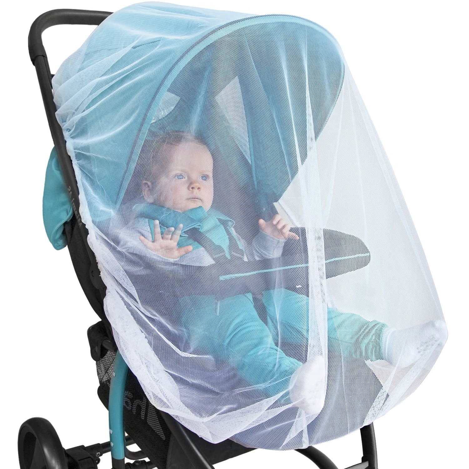 Model baby in a stroller covered with the net