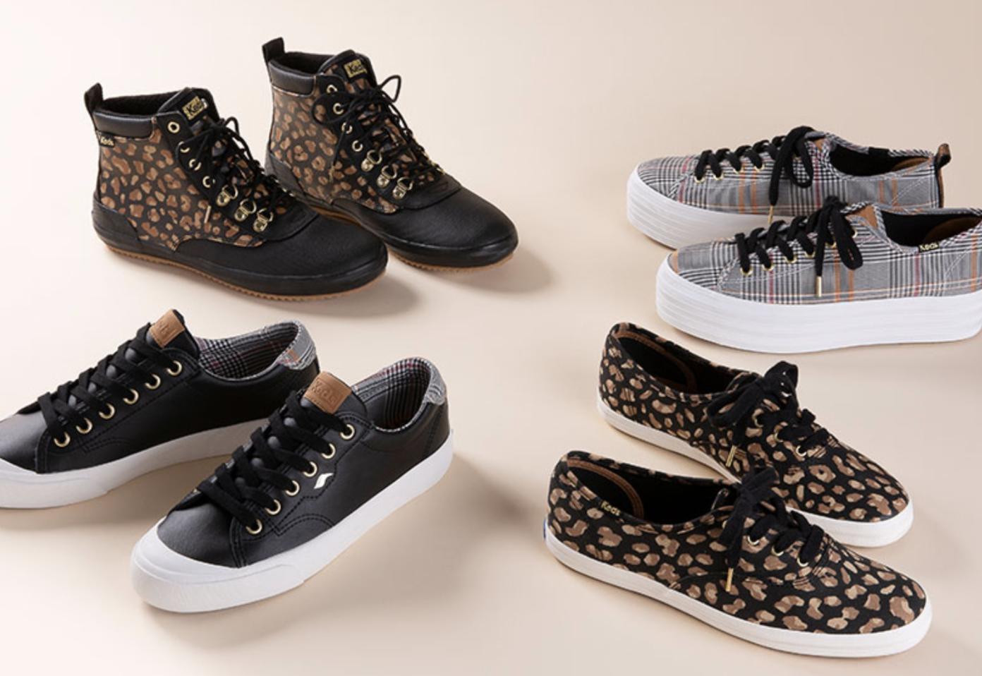Four different styles of shoes from Keds ranging from patterned sneakers to boots
