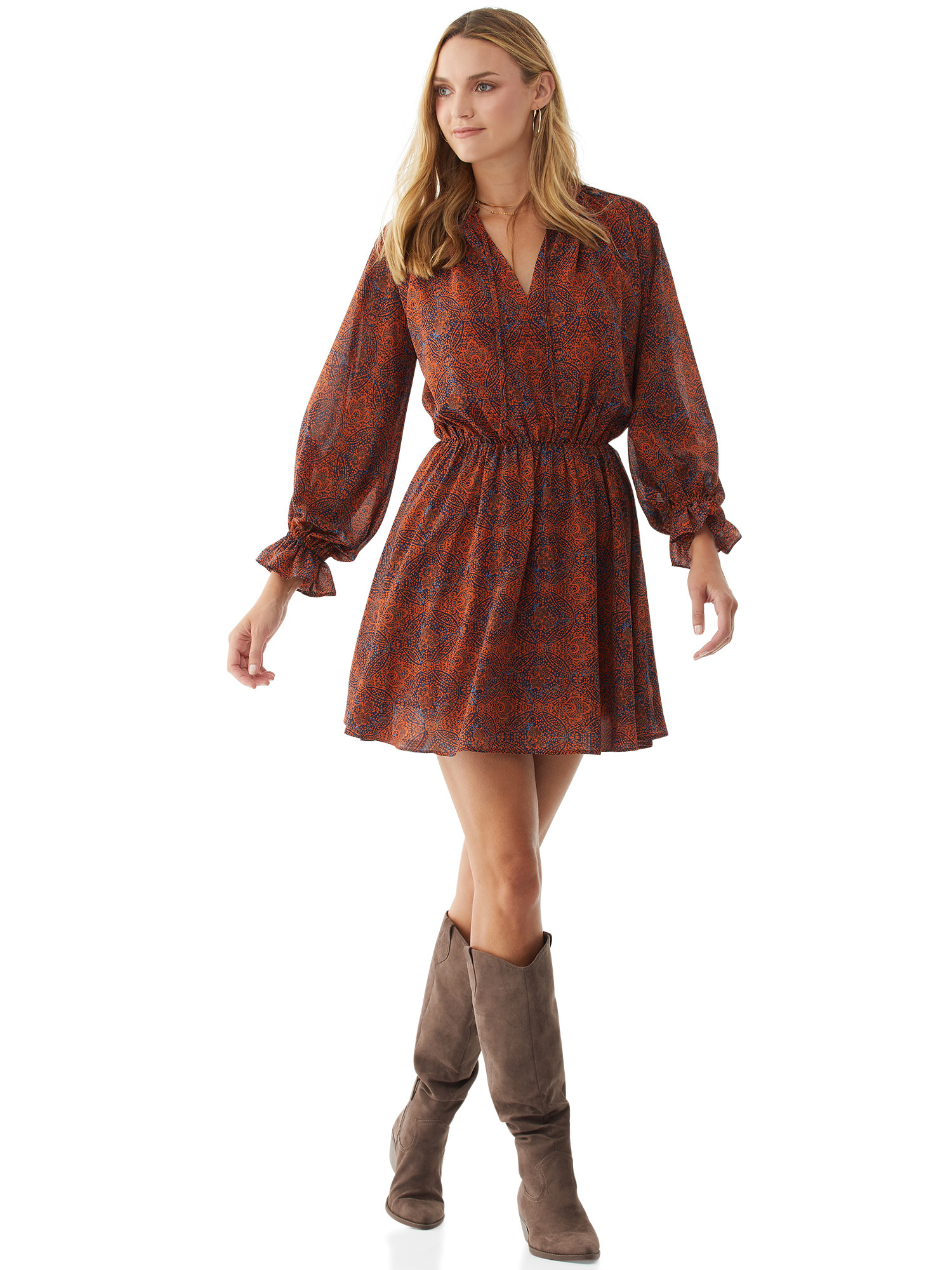 Rust-colored lined mini dress