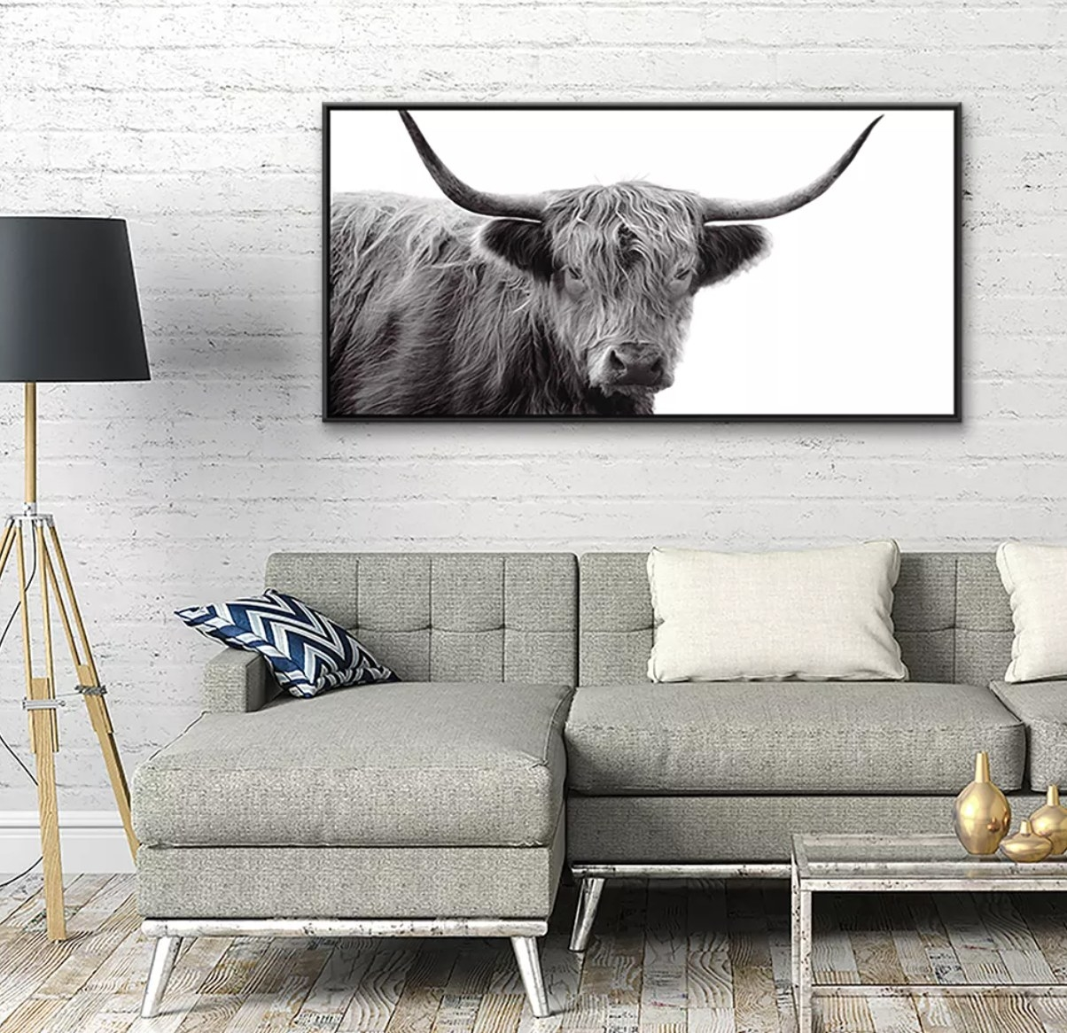 A black and white highland cow canvas print with black frame