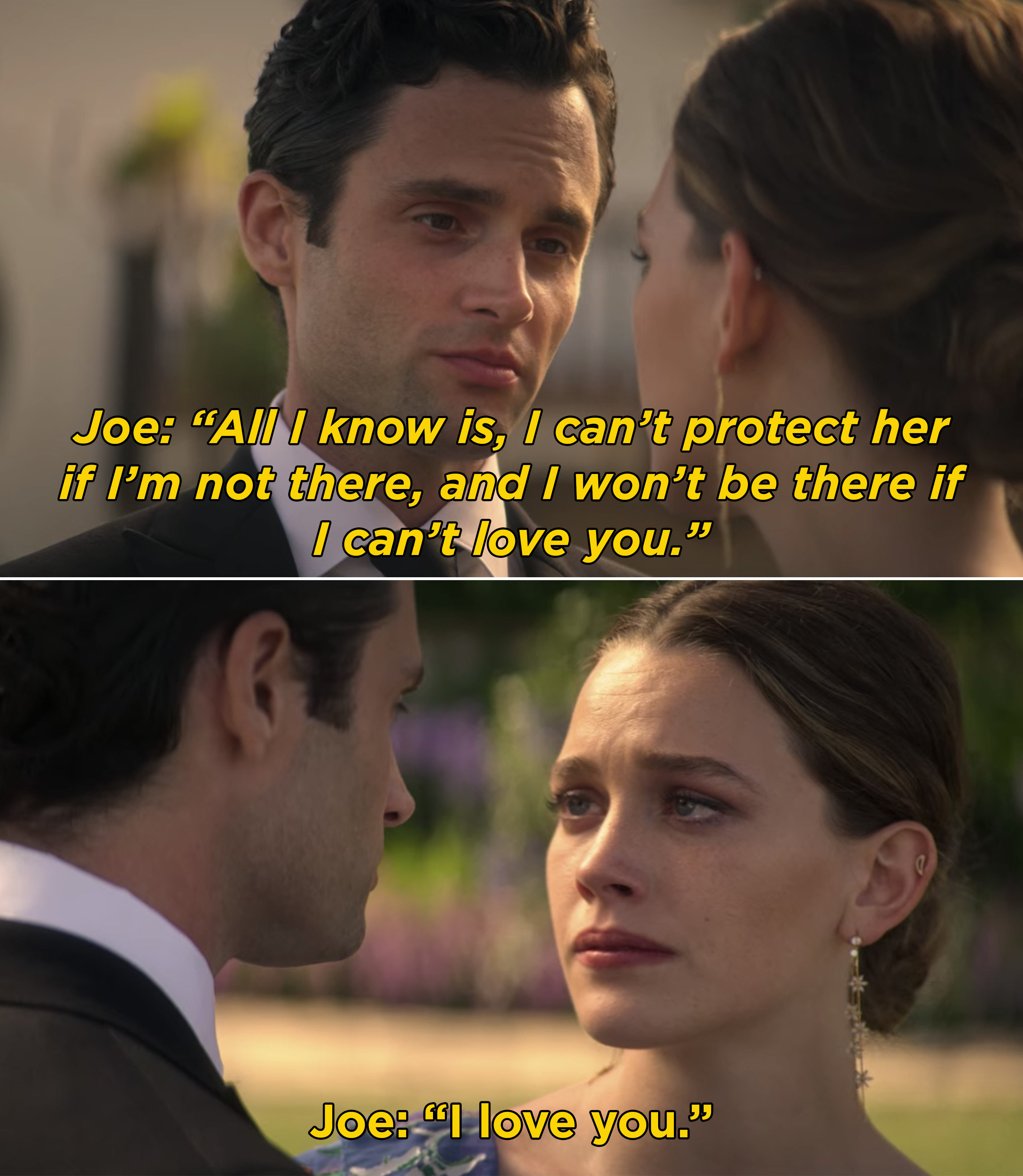 Joe telling Love that he loves her