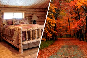 On the left, a bedroom in a log cabin with a bed made from logs with a quilt on it, and on the right, a road in a forest surrounded by trees and fall leaves