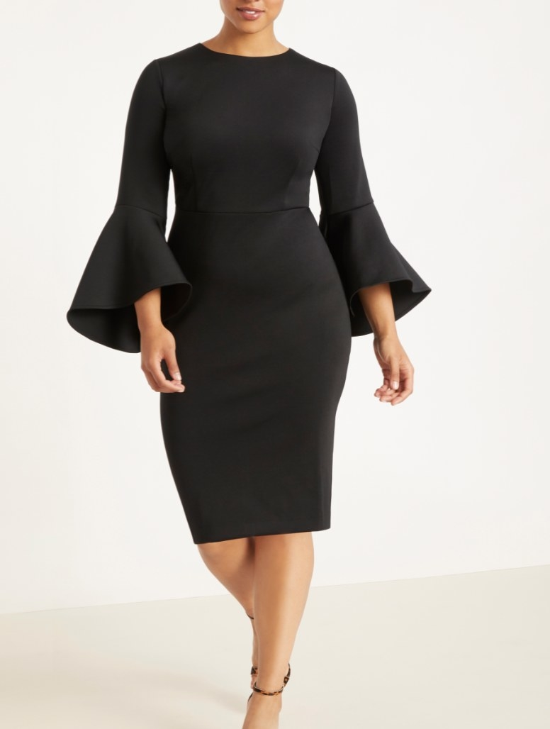 The black, flare-sleeve midi dress