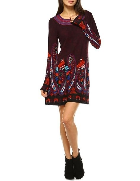 The embroidered sweater dress
