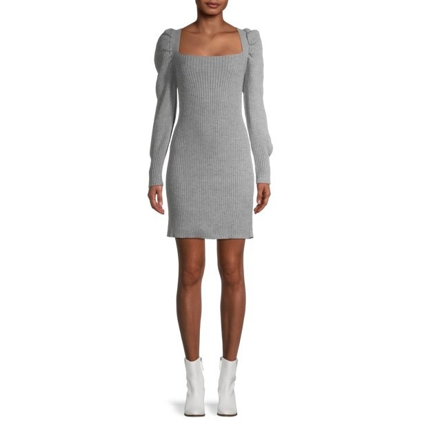 The gray ribbed sweater dress