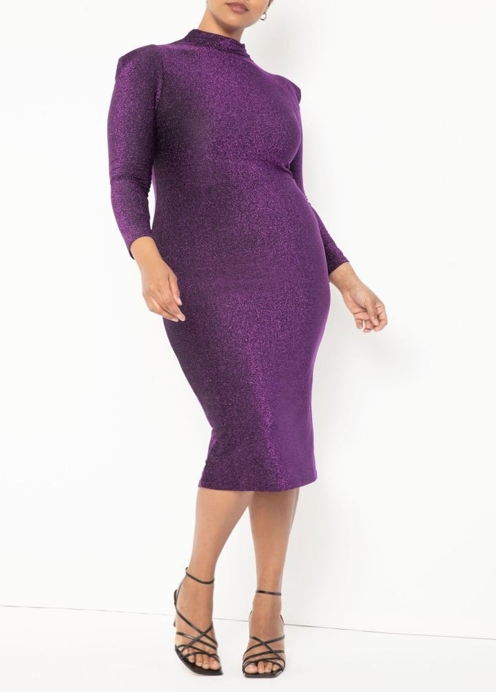 The purple midi bodycon dress