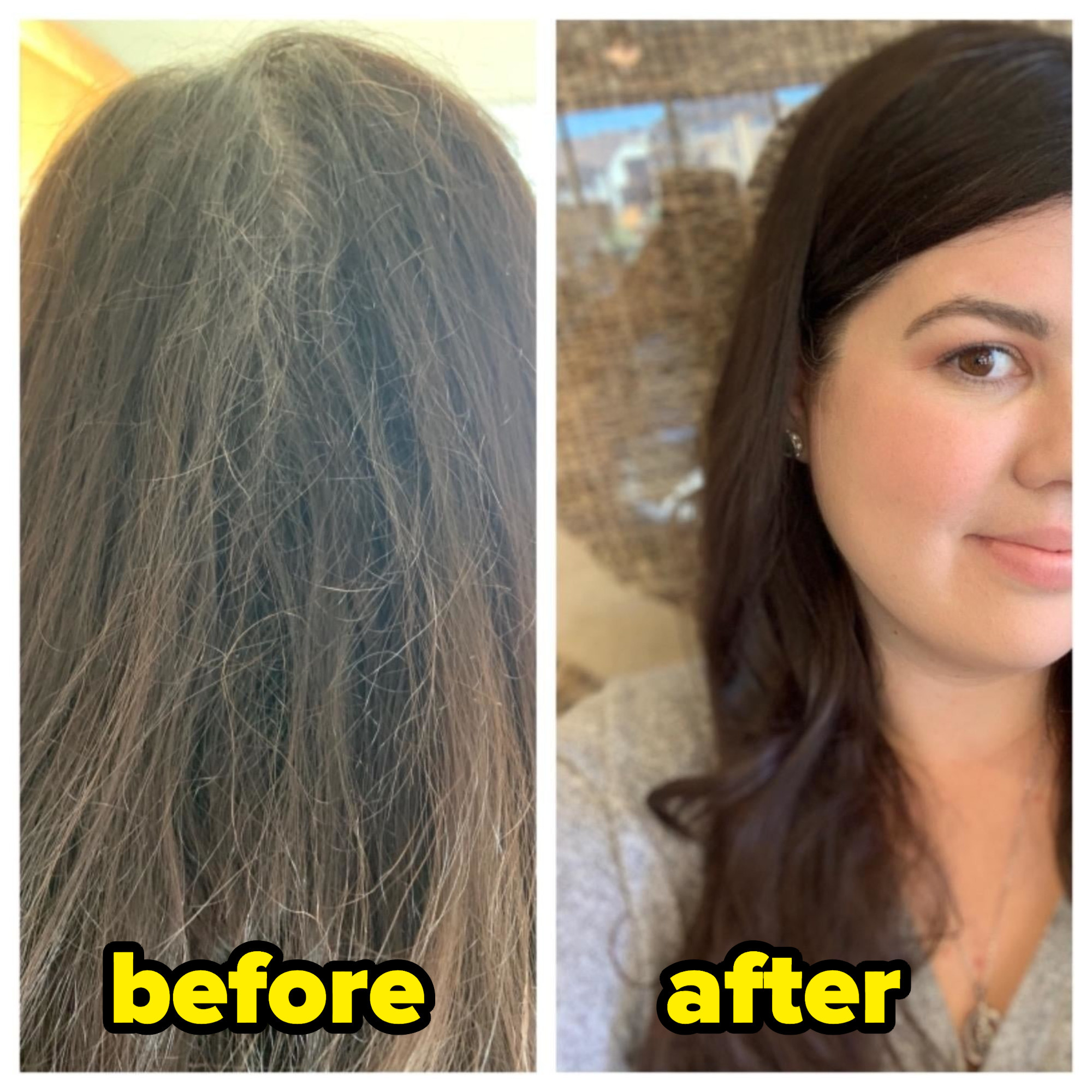 A customer's before and after shots; before their hair is frizzy and dull and after they're hair is bright and soft