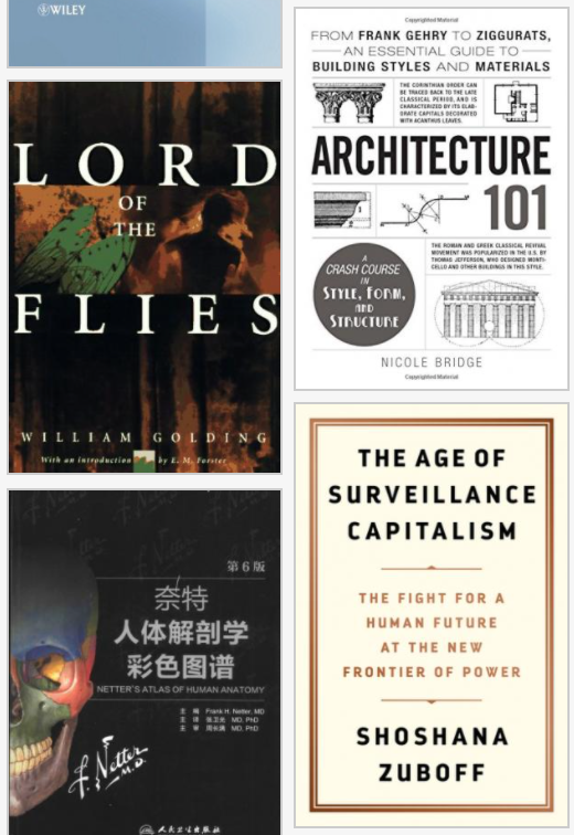 Books offered from Z Library, such as Architecture 101, Lord of the Flies, The Age of Surveillance Capitalism, and Netter's Atlas of Human Anatomy