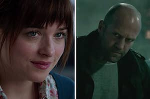 "Dakota Johnson in ""50 Shades of Grey"" and Jason Statham in ""Furious 7"""