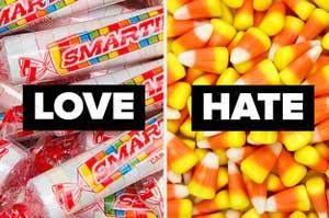 """与文字""""爱""""尖子一堆糖果玉米一堆文本""""恨"""""""