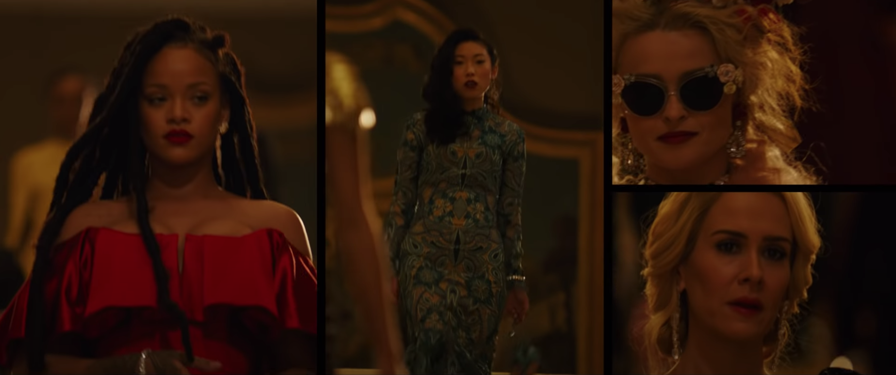 "Leslie, Constance, Rose, and Tammy dressed in fancy clothes in ""Ocean's Eight"""