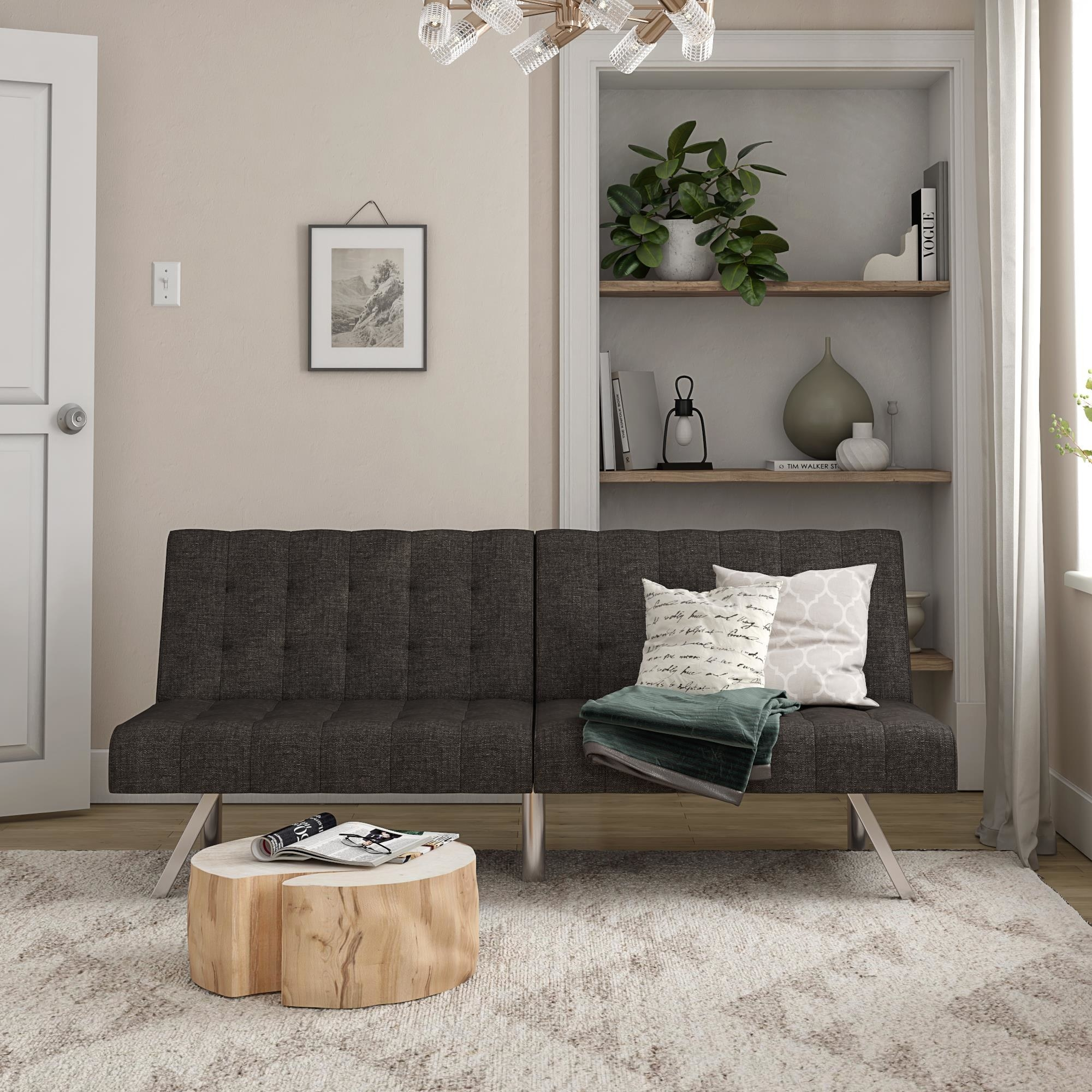The futon in the color grey linen