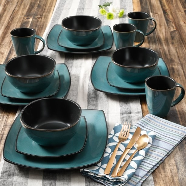 The dinnerware set in the color teal