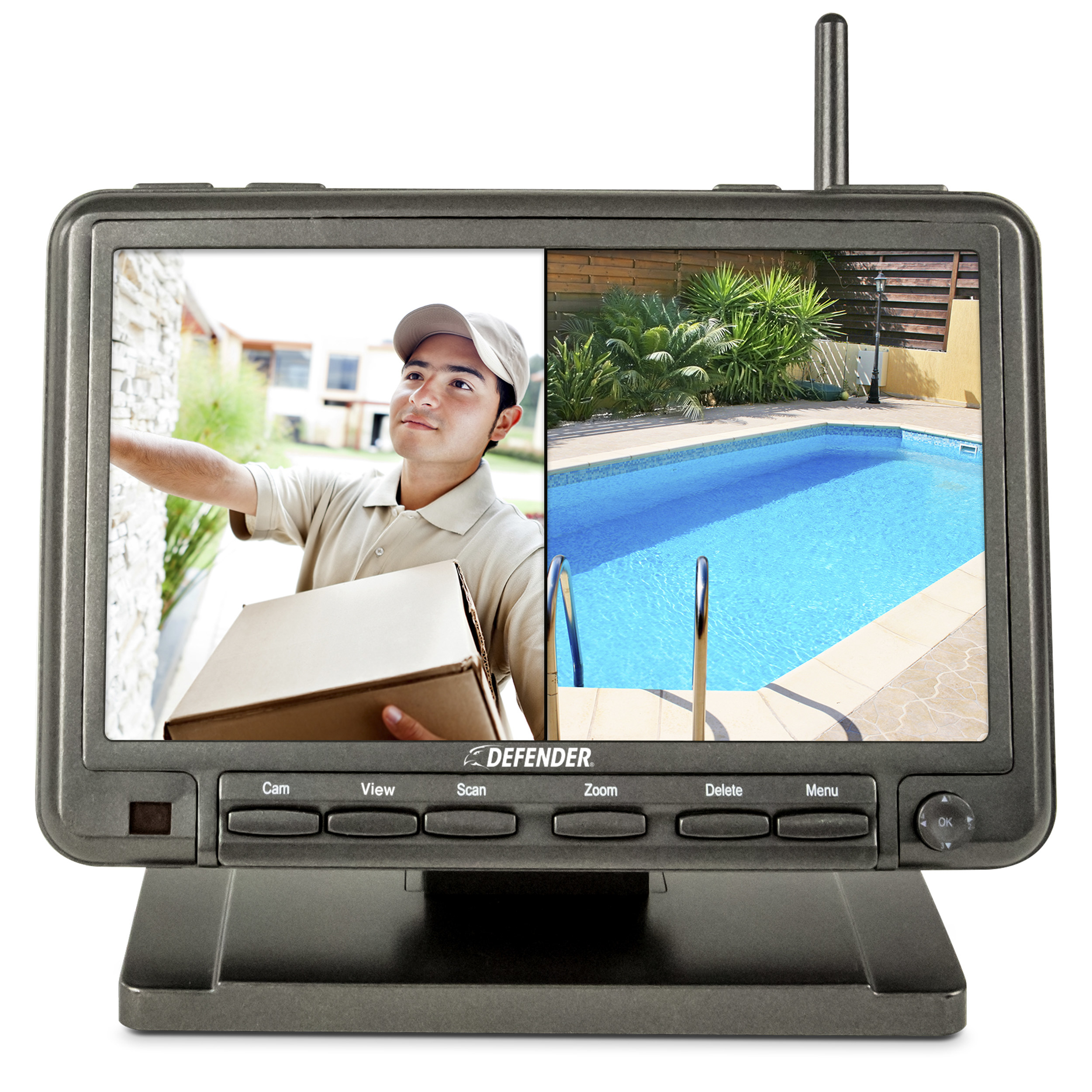 The monitor with a split screen showing a delivery man and a pool
