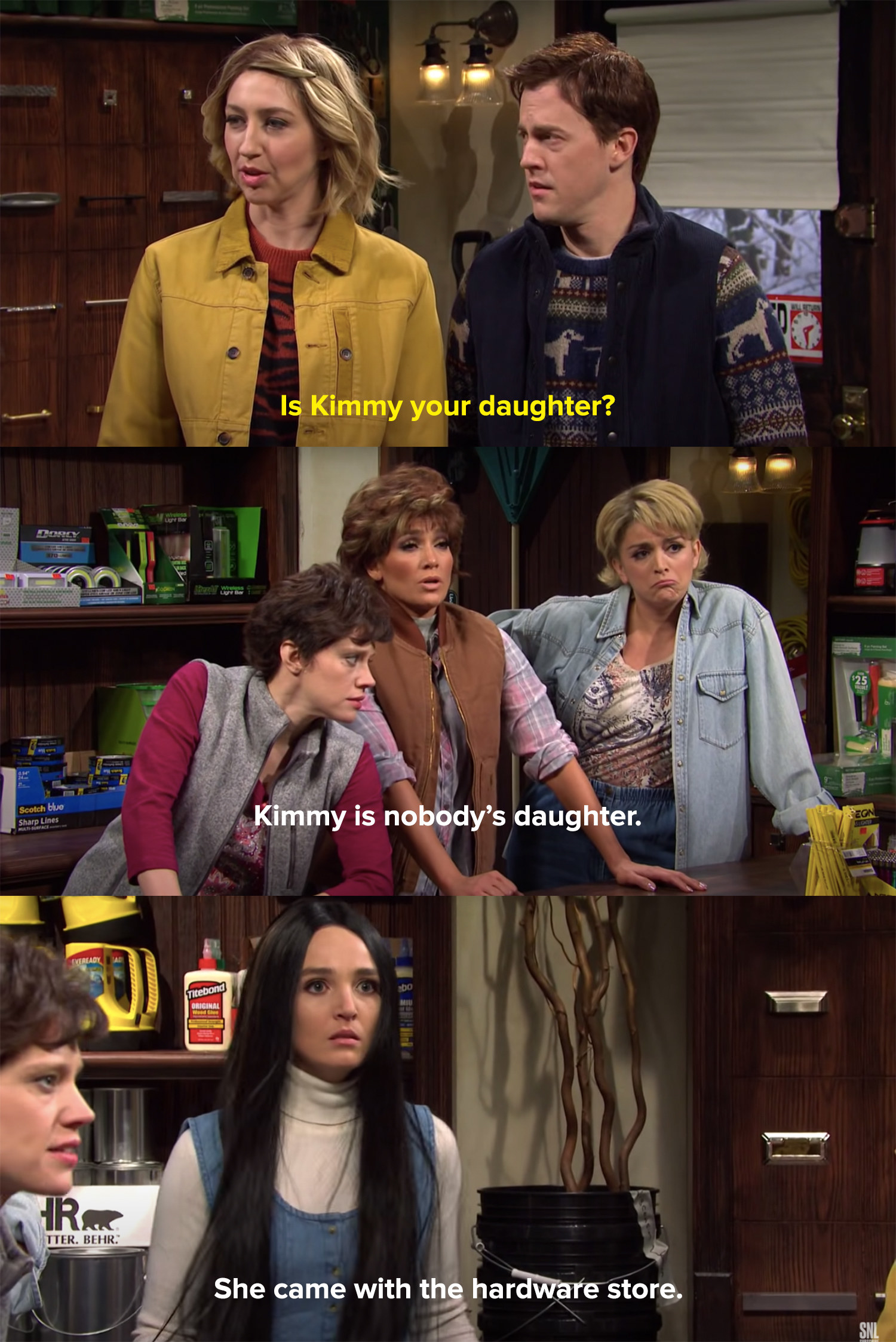 A couple learns that Kimmy is nobody's daughter because she came with the hardware store