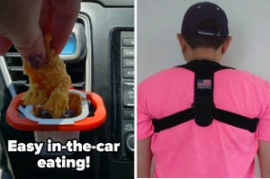 """On the left, a reviewer dipping a chicken tender into sauce held in a holder clipped onto a car air vent with the text """"Easy in-the-car eating!"""" On the right, a reviewer wearing a posture corrector"""