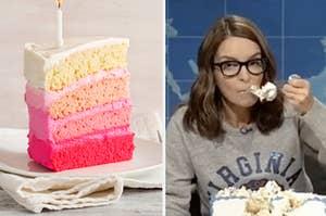 粉红色蛋糕,蒂娜吃蛋糕SNL