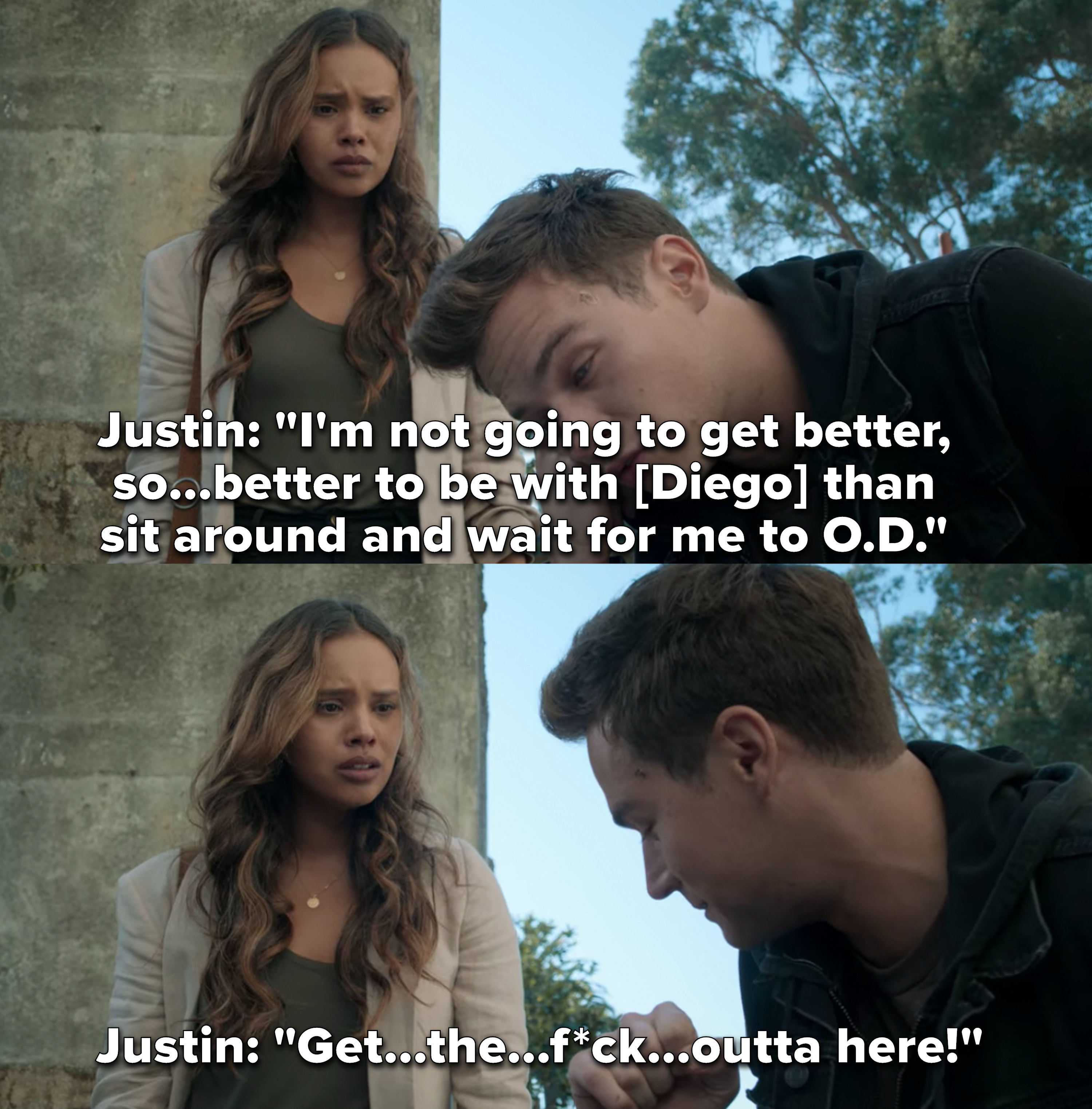 Justin tells Jess he's not going to get better, so she should just be with Diego