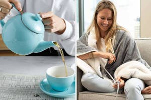 on the left a blue teapot, on the right a model wrapped in an electric blanket