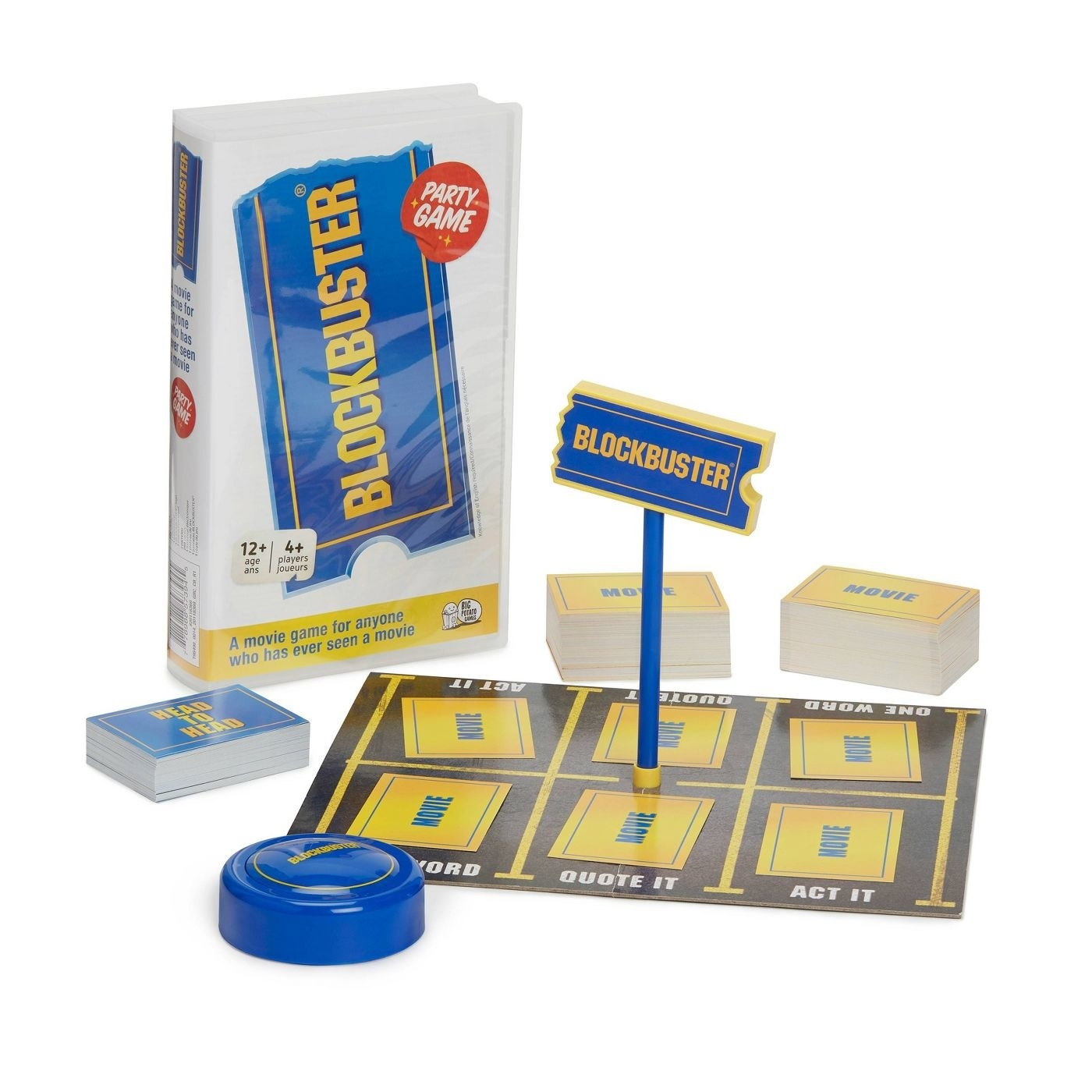 The Blockbuster game, which comes packaged in a case designed to look like a Blockbuster Video case, and which contains trivia/ charades cards and a timer for ganmeplay