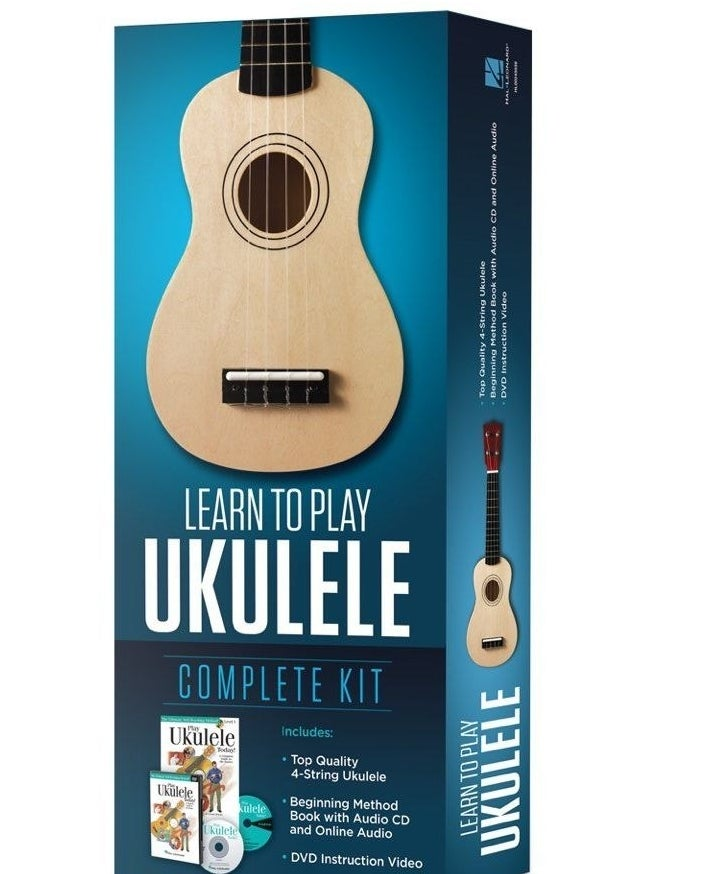Box containing the kit, including ukulele and instructional materials