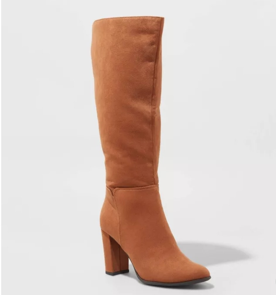 Copper colored knee high boot