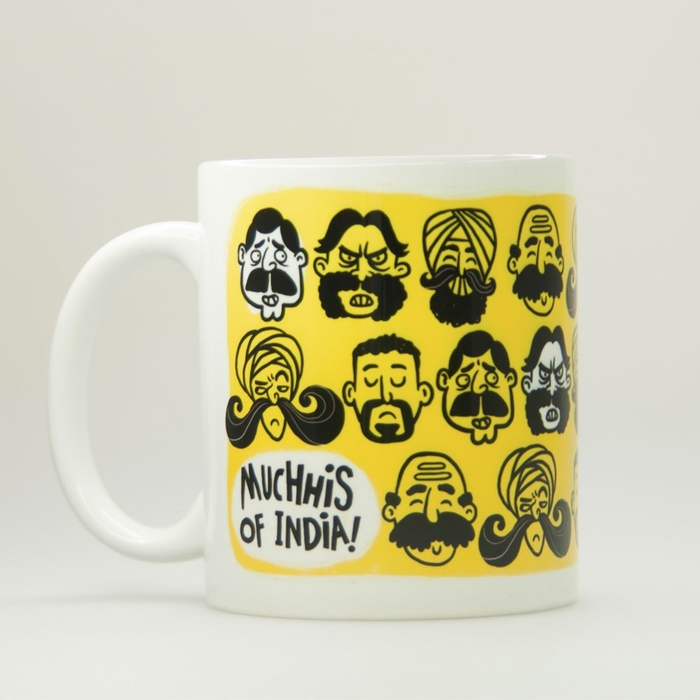 A mug with different moustaches on it