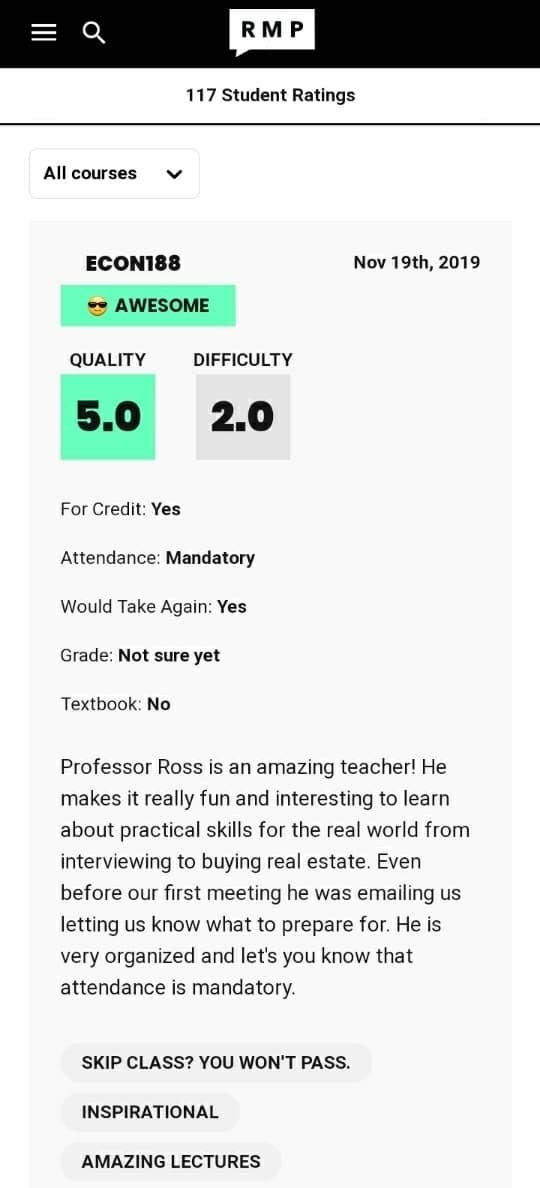 A review for a professor on Rate My Professor