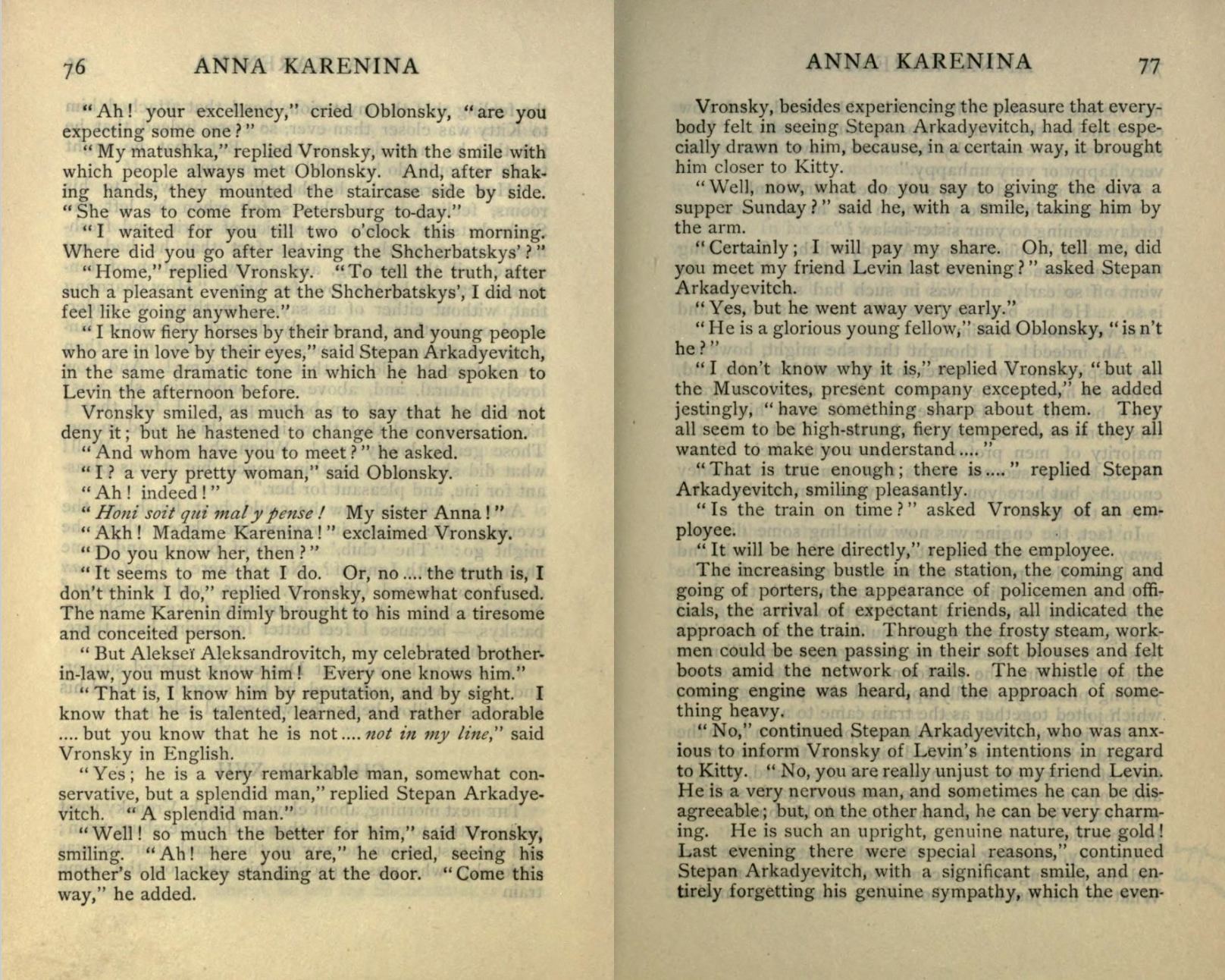 A scanned image of two open pages of Leo Tolstoy's Anna Karenina from Internet Archive