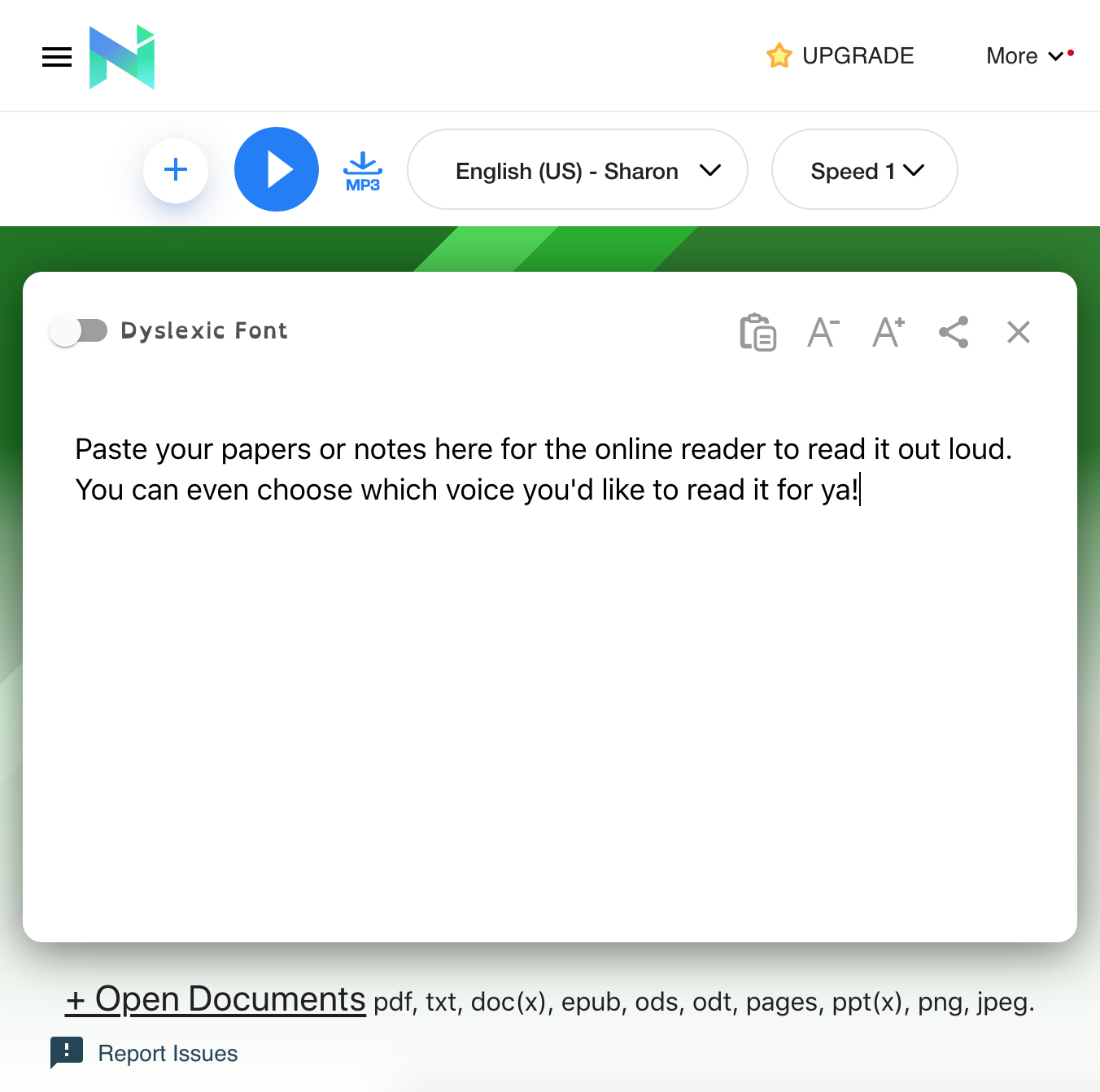 "A screenshot of the text box for the online reader that says, ""Paste your papers or notes here for the online reader to read it out loud. You can even choose which voice you'd like to read it for ya!"""