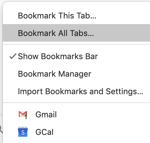"A screenshot of the drop down menu showing the ""Bookmark All Tabs..."" option"