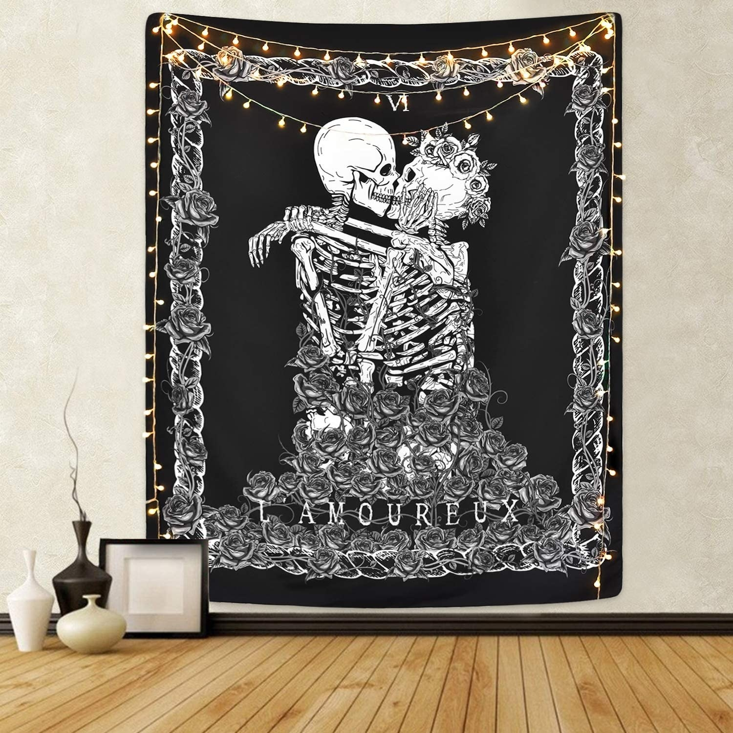 A tapestry of two skeletons embracing