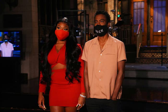 """""""Chris Rock"""" Episode 1786 -- Pictured: (l-r) Musical guest Megan Thee Stallion and host Chris Rock during Promos"""