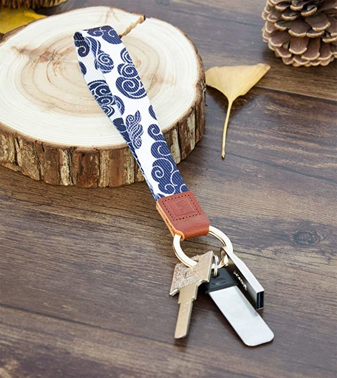 A loop-style keychain with keys on it
