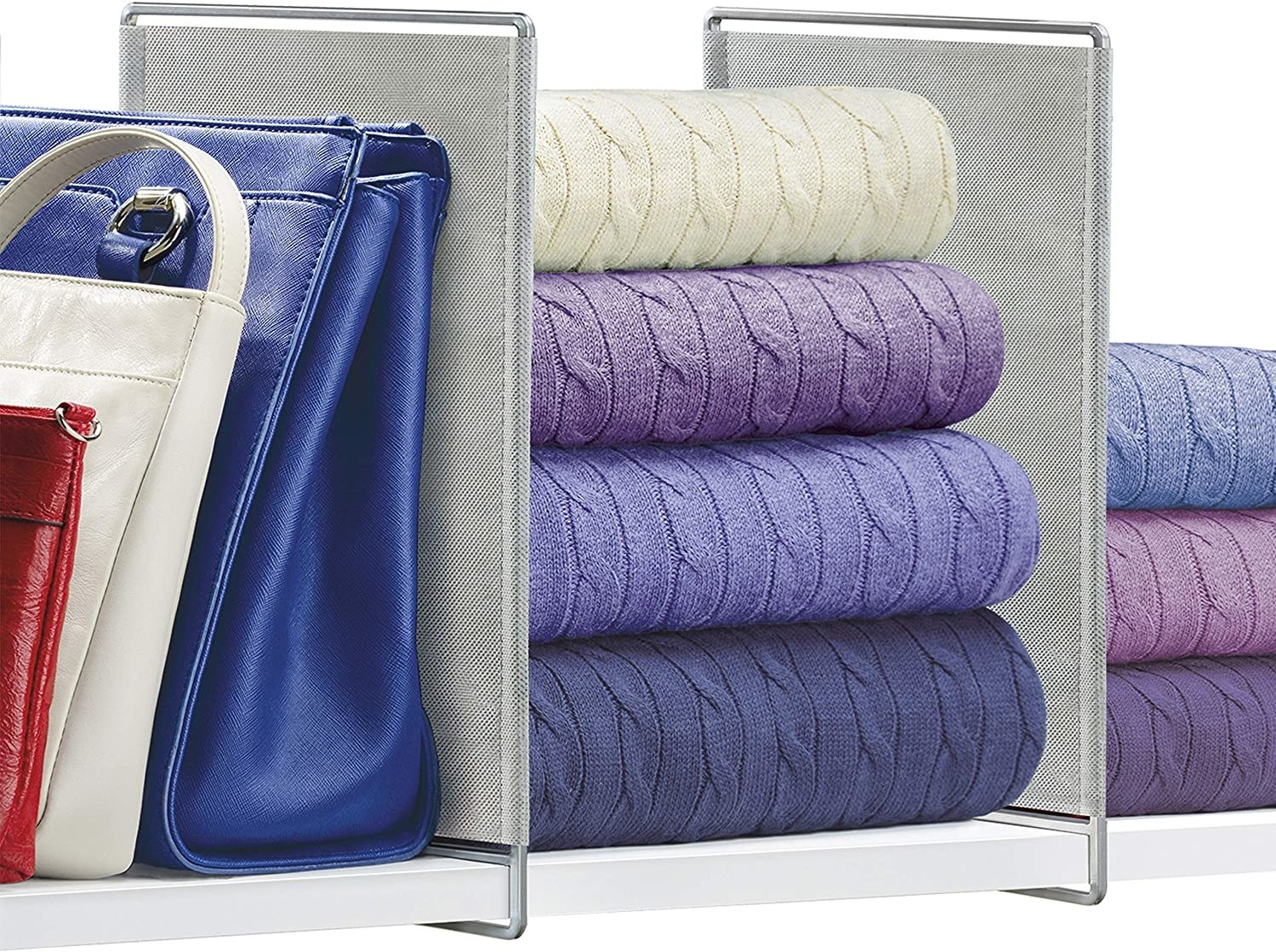 Handbags and sweaters separated with the shelf dividers