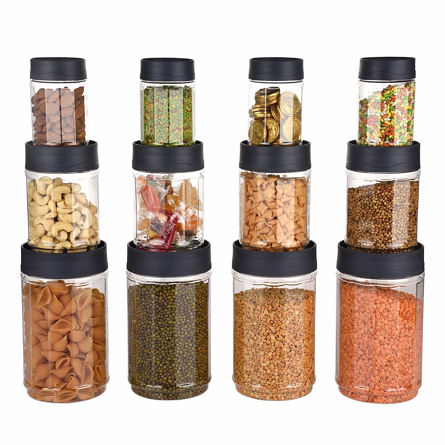 A set of stackable containers