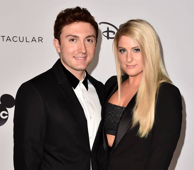 Daryl Sabara and Meghan Trainor attend Mickey's 90th Spectacular