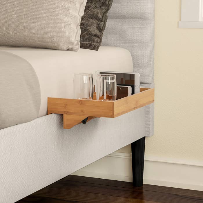 The bedside tray in use