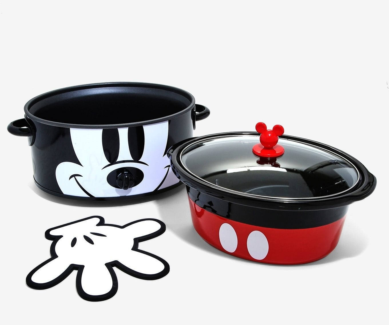 Mickey face crock pot with red pants bowl and white glove heat pad