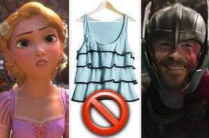Rapunzel from Tangled on the left, a frilly layered tank top on the middle with a big stop emoji over it, and thor on the right