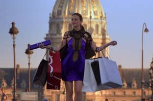 "Blair from ""Gossip Girl"" with a ton of shopping bags"