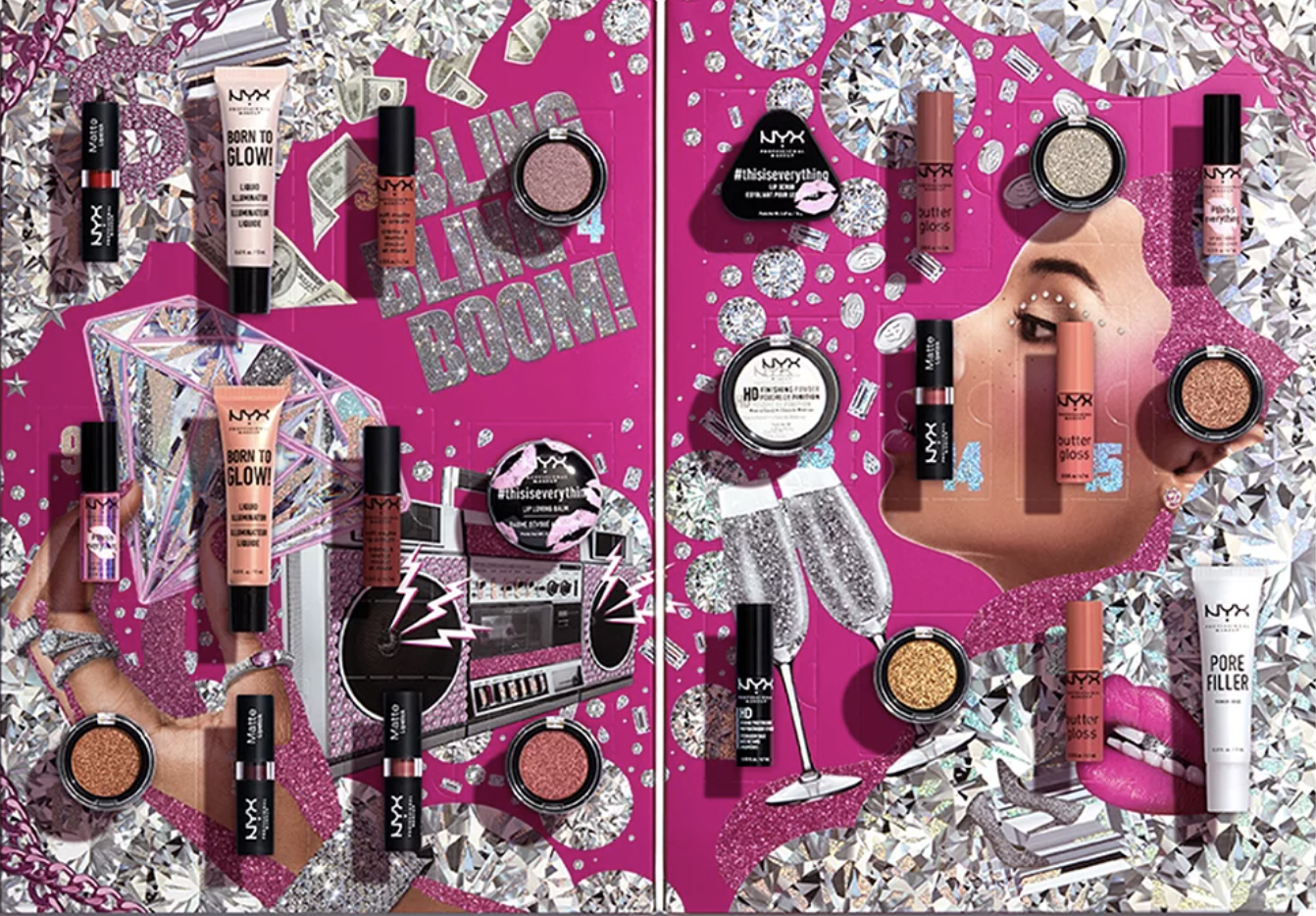 a pink cardboard advent calendar covered in glittery diamond designs and the 24 mini beauty products spread across it